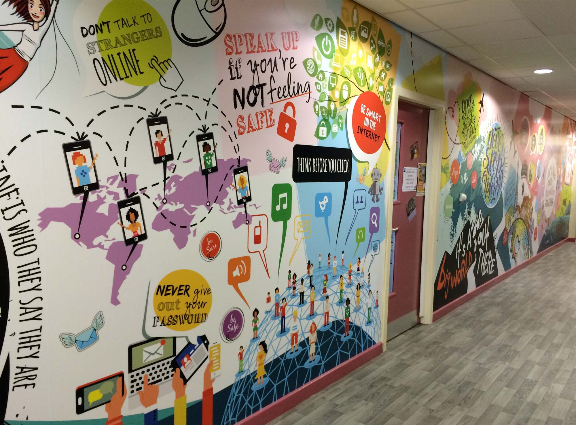 interior Illustrated Wall Graphics in bishop bridgeman school