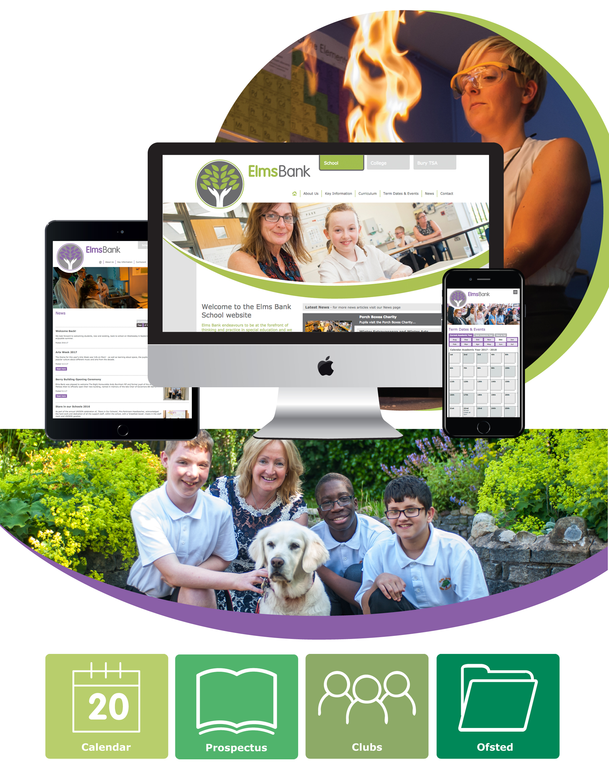 School Website Design & Development for elms bank