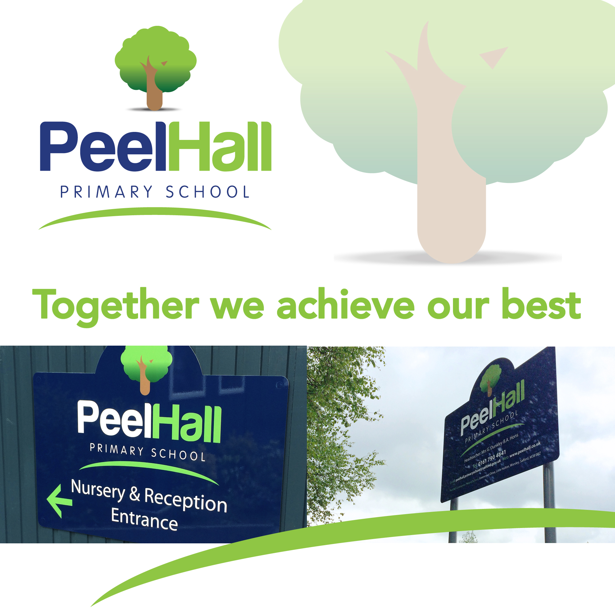 primary School Branding for peel hall logos and signs