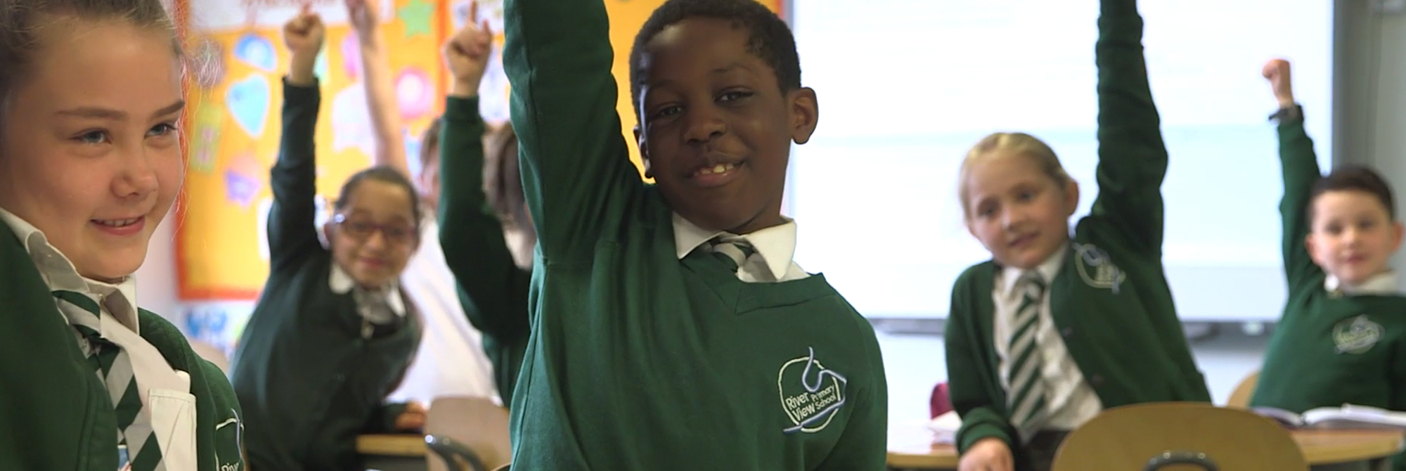 students celebrate River View Primary School Promotional Video
