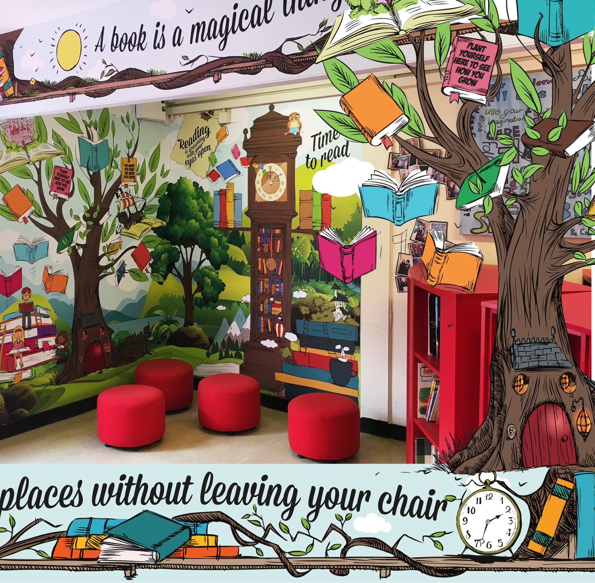 wharrton primary school reading room printed wall graphic