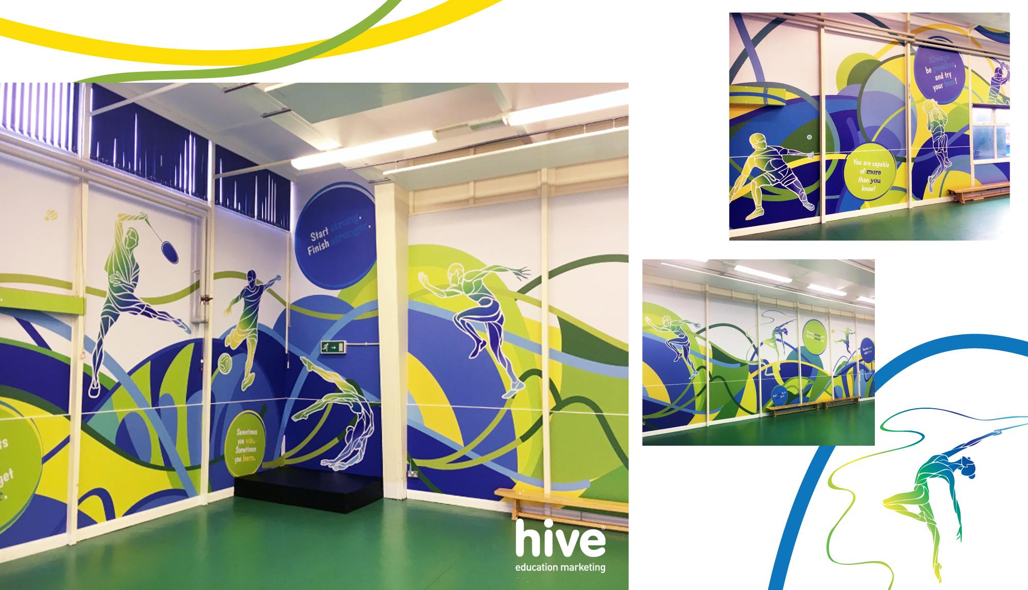 sports hall wall graphics